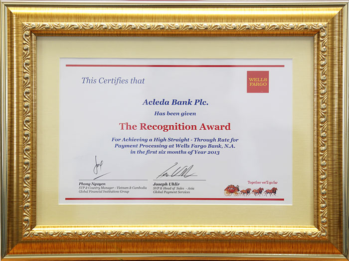 The Recognition Award from Wells Fargo Bank